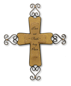 "Love and Faith by Outdoor Comfort - 9"" Wall Hanging Cross"