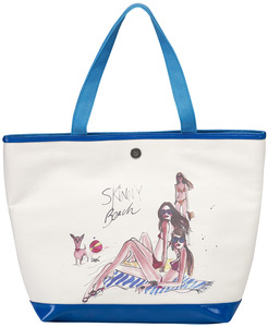 "Skinny Beach by IZAK - 16"" x 12"" Canvas Tote Bag"