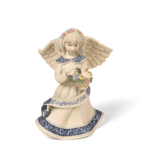 "Confirmation Angel by Sarah's Angels - 4"" Angel w/ Bird and Flowers"