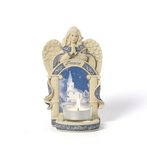 "Angel w/Church Scene by Sarah's Angels - 6"" Angel w/Tea Light Holder"