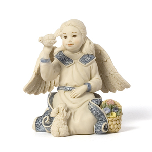 "Angel Holding Dove by Sarah's Angels - 3.5"" w/Flowers and Bunny"