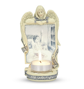 "Angel with Child Praying by Sarah's Angels - 6"" Angel Tea Light Holder"