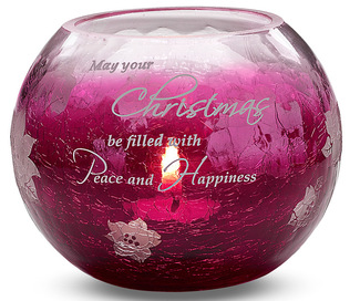 "Peace & Happiness by Bonita - 5"" Red Glass Candle Holder"