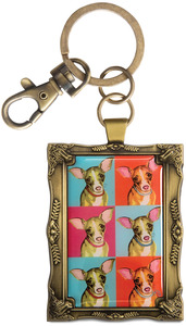"Chihuahua - Woofhol by Paw Palettes - 2""x 2.75"" Key Chain"