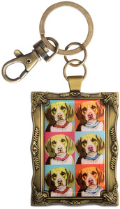 "Beagle - Woofhol by Paw Palettes - 2""x 2.75"" Key Chain"
