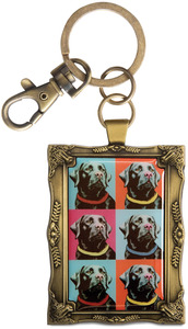 "Black Lab - Woofhol by Paw Palettes - 2""x 2.75"" Warhol Dog Key Chain"