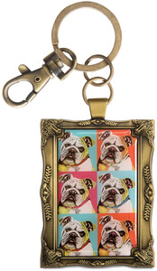 "Bulldog - Woofhol by Paw Palettes - 2""x 2.75"" Key Chain"