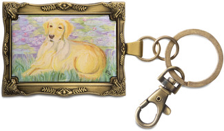 "Golden Retriever - Bonet by Paw Palettes - 2""x 2.75"" Monet Dog Key Chain"