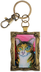"Brown Tabby - Pawcasso by Paw Palettes - 2""x 2.75"" Key Chain"