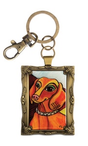 "Dachshund - Pawcasso by Paw Palettes - 2""x 2.75"" Key Chain"