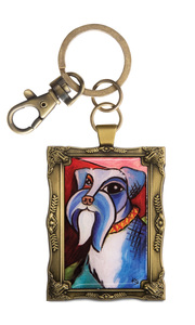 "Schnauzer - Pawcasso by Paw Palettes - 2""x 2.75"" Key Chain"