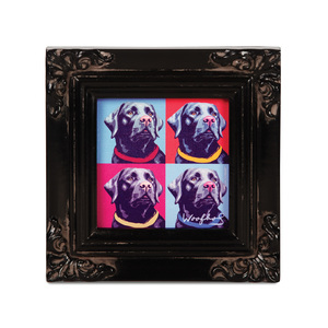 "Black Lab - Woofhol by Paw Palettes - 3.5""x3.5"" Framed Canvas"