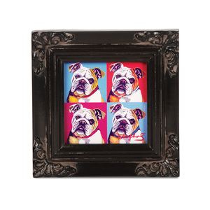 "Bulldog - Woofhol by Paw Palettes - 3.5""x3.5"" Framed Canvas"