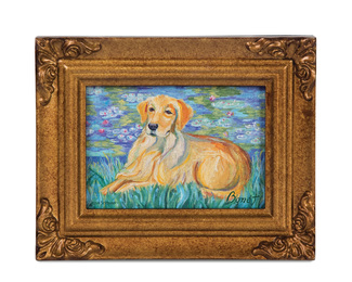"Golden Retriever - Bonet by Paw Palettes - 3.5""x5"" Framed Canvas"