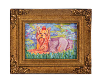 "Yorkshire Terrier - Bonet by Paw Palettes - 3.5""x5"" Framed Canvas"
