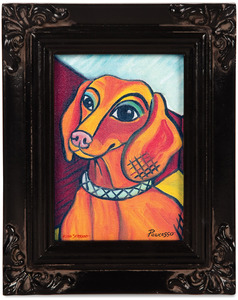 "Dachshund - Pawcasso by Paw Palettes - 3.5""x5"" Framed Canvas"