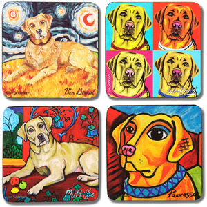 "Yellow Lab by Paw Palettes - 4"" Dog Coaster Multiple Artists Set"