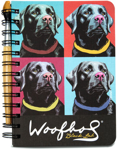 "Black Lab Woofhol by Paw Palettes - 5"" x 7"" Warhol Journal & Pen Set"