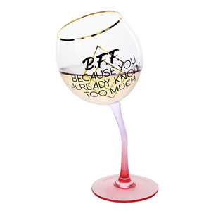 B.F.F. by Salty Celebration - 11 oz Tipsy Stemmed Wine Glass