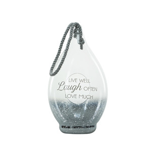 "Live Laugh Love by Lots of Lanterns - 15.5"" Smoke Glass Lantern"