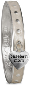 Baseball Mom by Mom Love - White Enamel Bangle Bracelet with Heart Charm