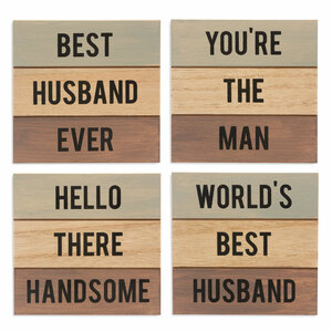 "Husband by Man Made - 4.5"" - 4 Piece Coaster Set"