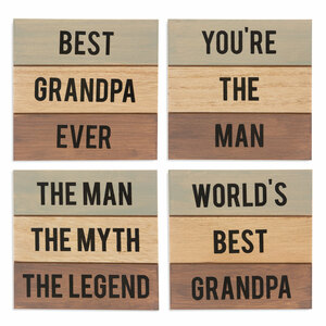 "Grandpa by Man Made - 4.5"" - 4 Piece Coaster Set"