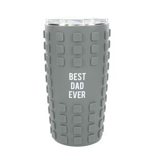 Best Dad by Man Made - 20 oz Travel Tumbler with 3D Silicone Wrap