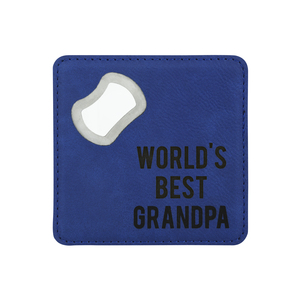 "Grandpa by Man Made - 4"" x 4"" Bottle Opener Coaster"