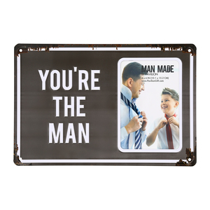 "The Man by Man Made - 11.75"" x 8"" Tin Frame (Holds 4"" x 6"" Photo)"