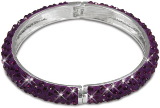 "Purple Crystal Bracelet by H2Z - Crystal Bangle Bracelets and Earrings - 2.64"" Crystal Bangle Bracelet"