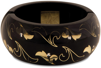 Black Scroll by H2Z - Crystal Bangle Bracelets and Earrings - Resin Bangle Bracelet