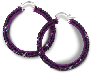 Purple Crystal by H2Z - Crystal Bangle Bracelets and Earrings - Crystal Hoop Earrings