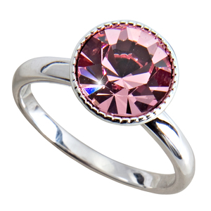 "Liza Light Rose  by H2Z Made with Swarovski Elements - Size 6 Ring with 0.375"" Crystal made from Swarovski Elements"