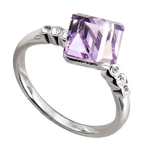 "Nicole Violet by H2Z Made with Swarovski Elements - Size 7 Ring with 0.25"" Crystal made from Swarovski Elements"