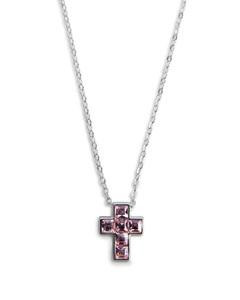 "Nina Light Rose by H2Z Made with Swarovski Elements - 16""-18"" Necklace with 0.5"" Crystal Cross  made from Swarovski Elements"