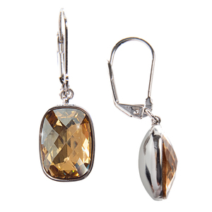 "Kate Crystal Golden Shadow by H2Z Made with Swarovski Elements - 0.375"" x 0.5"" Crystal Dangle  Earrings made from Swarovski Elements"