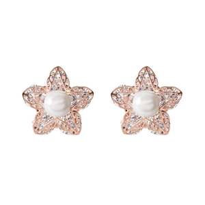 "Rosa Pink Petal by H2Z Made with Swarovski Elements - .5""  Stud Earring"