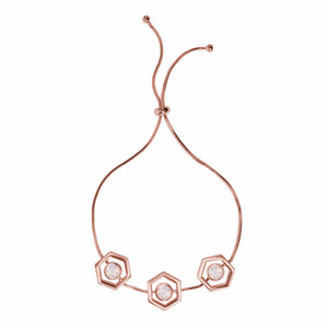 "Rose Water Opal - Rose Gold Hexagon by H2Z Made with Swarovski Elements - 2"" - 3"" Swarovski Crystal Drawstring Bracelet"