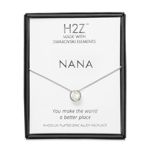 "Nana White Opal by H2Z Made with Swarovski Elements - 16"" - 17.5"" Rhodium Necklace"
