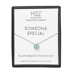 "Someone Special Pacific Opal by H2Z Made with Swarovski Elements - 16"" - 17.5"" Rhodium Necklace"