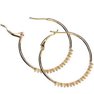 "Crystal Classic in Gold by H2Z Made with Swarovski Elements - 1.5"" Swarovski Crystal Hoop Earring"