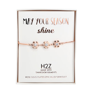 "Crystal Snowflake in Rose Gold by H2Z Made with Swarovski Elements - 4.5"" Swarovski Crystal Drawstring Bracelet"
