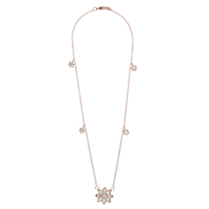 "Crystal Flora Rose Gold by H2Z Made with Swarovski Elements - 12.5"" - 15.5"" Swarovski Crystal Necklace"