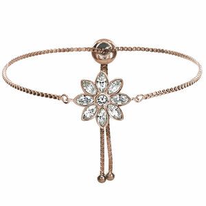 "Crystal Flora in Rose Gold by H2Z Made with Swarovski Elements - 4.5"" Swarovski Crystal Drawstring Bracelet"