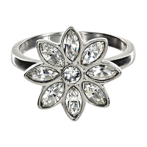 Crystal Flora in Rhodium by H2Z Made with Swarovski Elements - 1.5 CM  Swarovski Crystal Ring Size 7