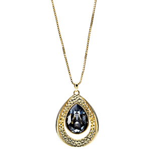 "Crystal Silver Night Teardrop by H2Z Made with Swarovski Elements - 38"" 18 K Gold Plated Drawstring Sweater Necklace"