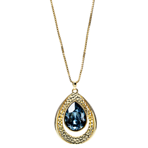 "Denim Blue Teardrop by H2Z Made with Swarovski Elements - 38"" 18 K Gold Plated Drawstring Sweater Necklace"