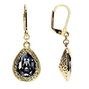 Crystal Silver Night Teardrop by H2Z Made with Swarovski Elements - 18K Gold Plated Swarovski Crystal Dangle Earring