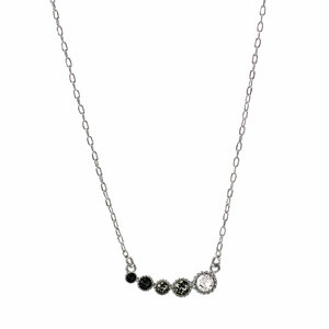 "Black Diamond Ombre by H2Z Made with Swarovski Elements - 13"" - 16.5"" Rhodium Plated Crystal  Necklace"